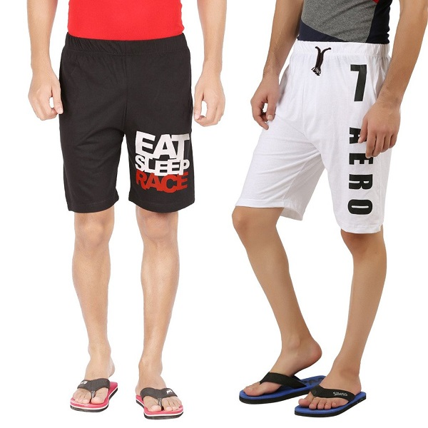 Hotfits combo graphic cotton shorts pack of 2