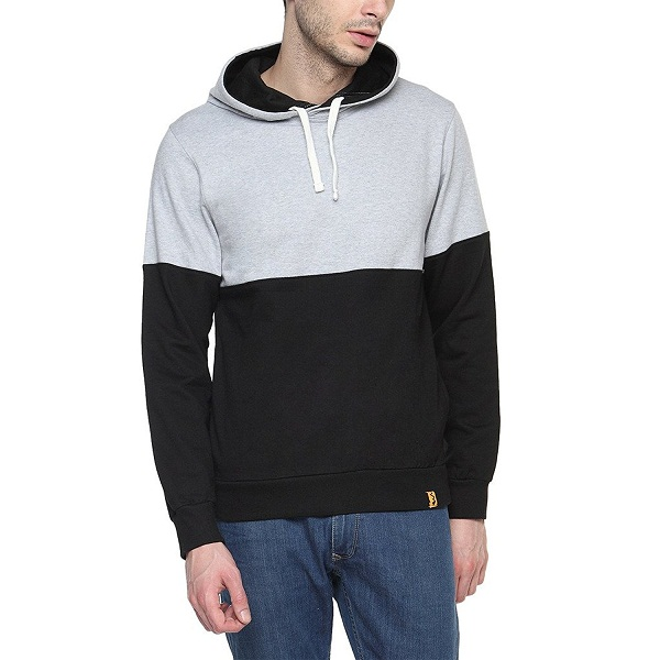 Campus Sutra Black Mens cotton Contrast Panel Hoodie