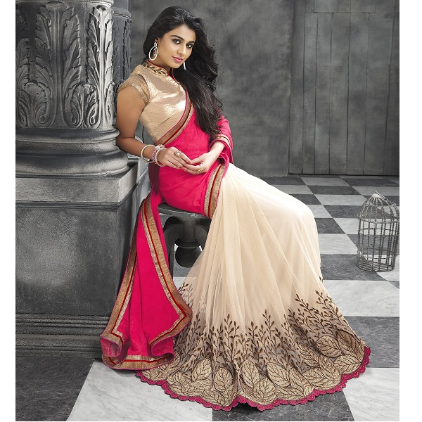 Shubhkari Georgette Womens Saree With Blouse