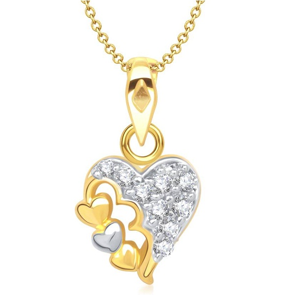 VK Jewels Two Tone Heart Shape Yellow Gold Cubic Zirconia Alloy Pendant