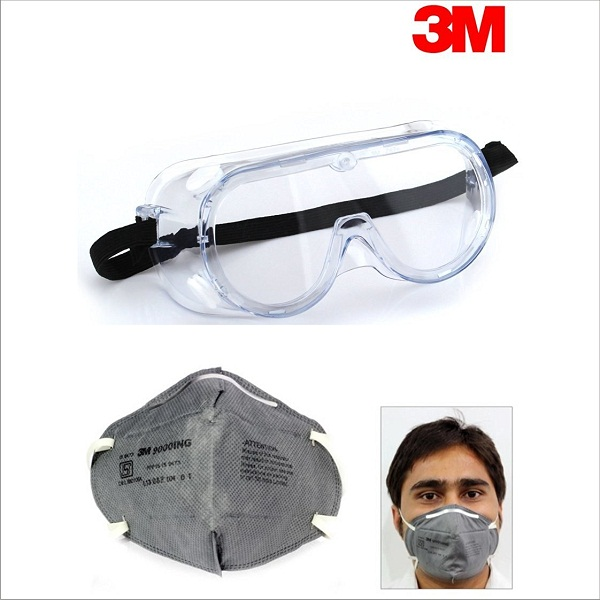 3M Chemical Protection Safety Goggles and Dust Respirator Mask Combo