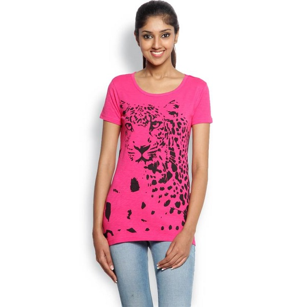 Wolfpack Animal Print Womens Round Neck Pink T Shirt