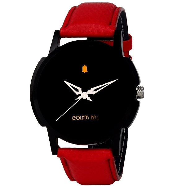 Golden Bell Original Analogue Black Dial Red Strap Wrist Watch
