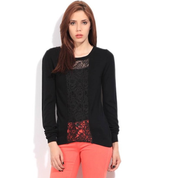 United Colors of Benetton Self Design Round Neck Casual Womens Black Sweater