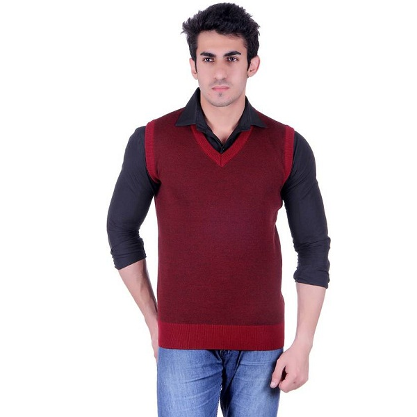 SIOUX Solid V neck Mens Maroon Sweater