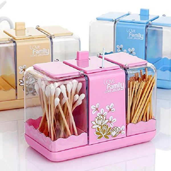 Shopos Toothpick Double Slider Cotton Swab Package Holder Storage Box
