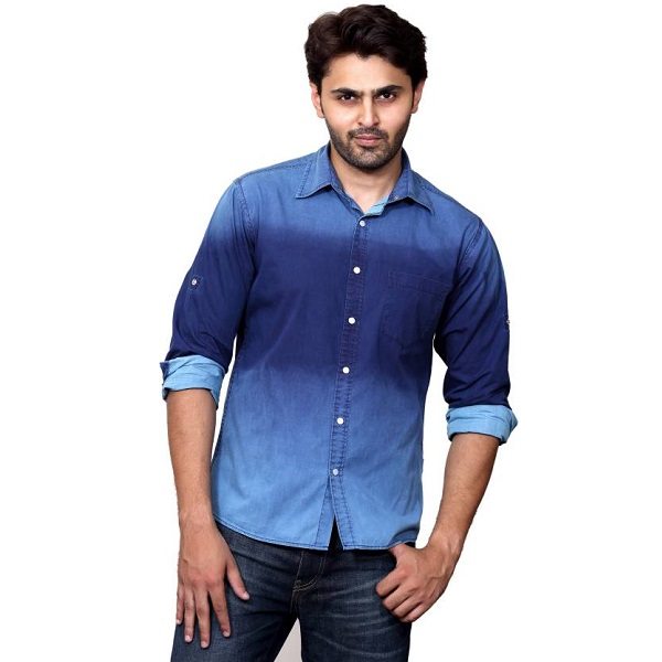 Rafters Mens Solid Casual Blue Dark Blue Shirt