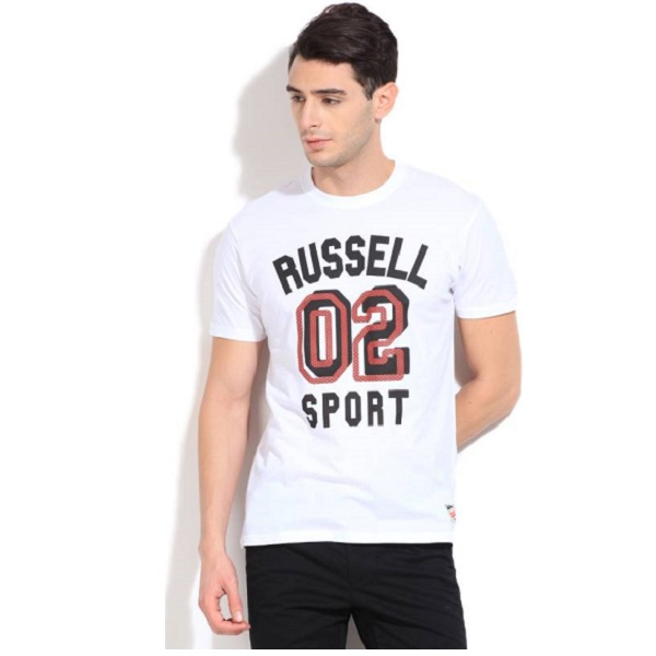 Russell Athletic Printed Mens Round Neck White T Shirt
