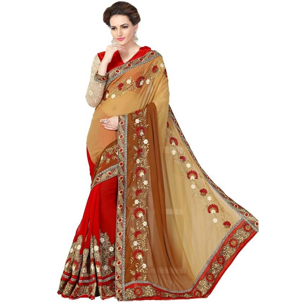 onlinefayda Embroidered Bollywood Viscose Sari