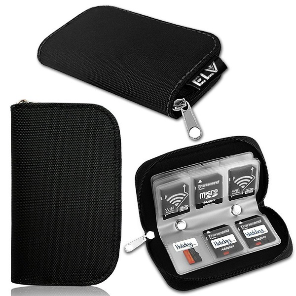 Elv Premium Quality Protective 22 Slots SD Card Carrying Case