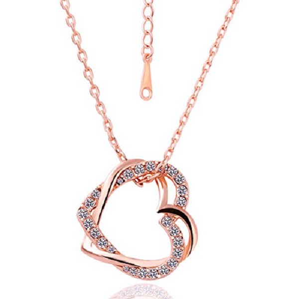Embracing Hearts in Love 18K Rose Gold Plated Austrian Crystal Pendant