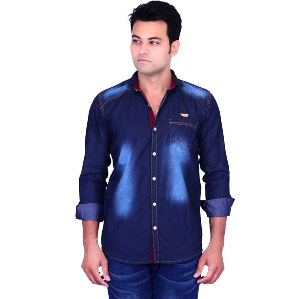 La Milano Mens Solid Casual Dark Blue Shirt