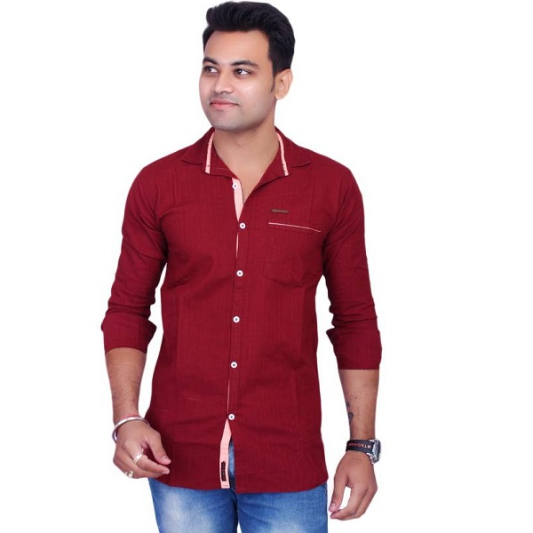 La Milano Mens Solid Casual Maroon Shirt