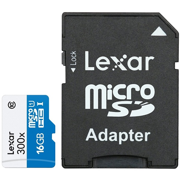 Lexar MicroSD 16GB Class 10 Memory Card with adapter