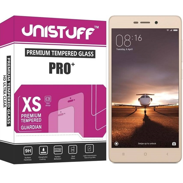 Unistuff Tempered Glass Guard for Xiaomi Redmi 3S