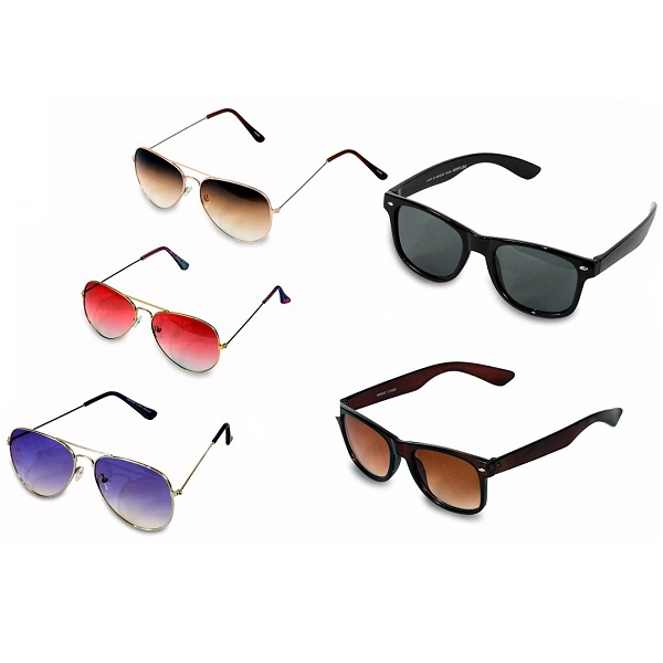 VS Combo Women And Men 3 Aviator Sunglass And 2 Wayfarer Sunglass