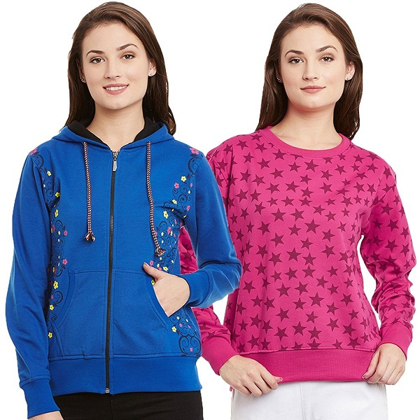 TAB91 Womens Printed Fleece Sweatshirt Combo