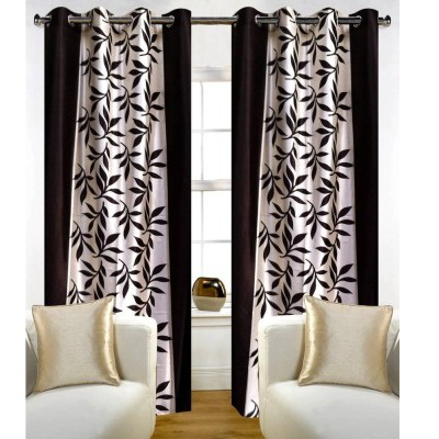 Polyester Brown Floral Window Curtain Pack of 2