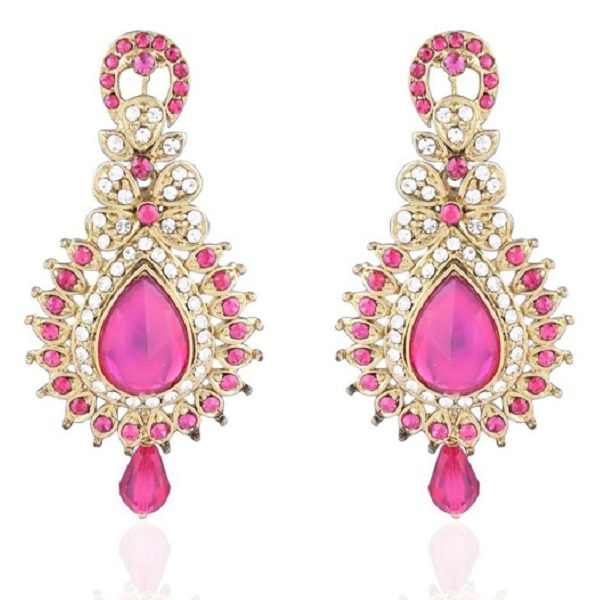 I Jewels Traditional Gold Plated Stone Earrings