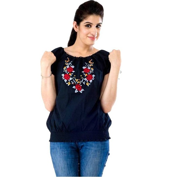 Amadore Casual Short Sleeve Embroidered Top