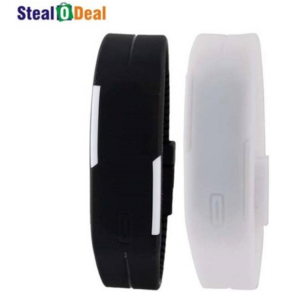 Stealodeal High Quality Set of Black and White Led Digital Watch