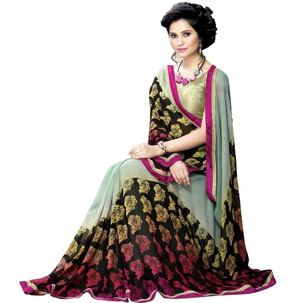 Oomph Floral Print Fashion Georgette Sari