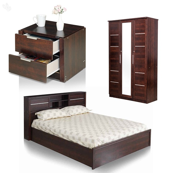 Royal Oak Bedroom Set with Queen Bed Wardrobe and Bedside Table