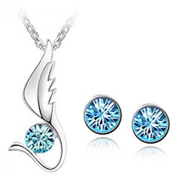Habors 18K White Gold Plated Blue Austrian Crystal Angel Wing Pendant Set