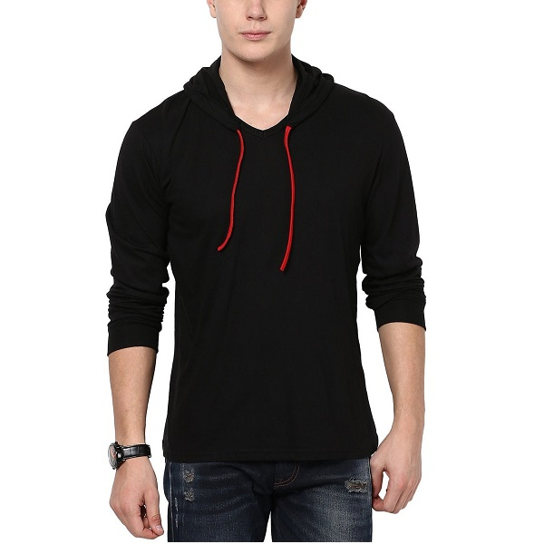 Style Shell Mens Hooded Full Sleeve Cotton T Shirt
