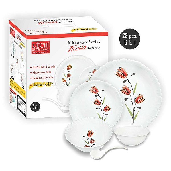 Ruchi Fiesta Orange Tulip Design Unbreakable Dinner Set