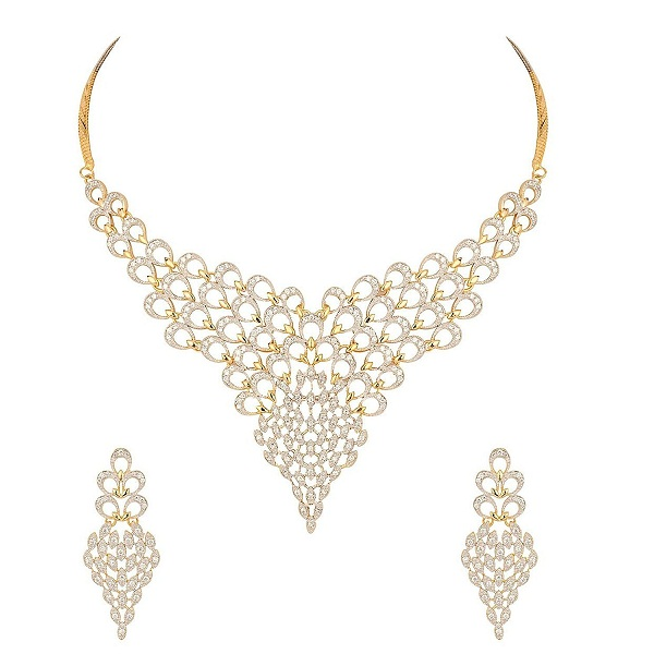 MGold Gold Plated Diamond Look Necklace Set