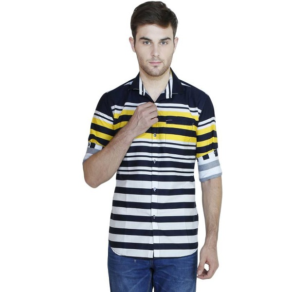 Human Steps Mens Striped Casual Yellow Shirt