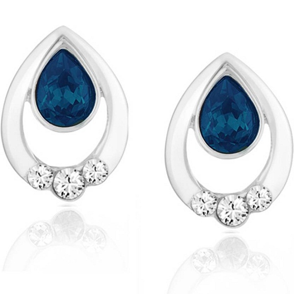 Mahi Pretty Drop Swarovski Crystal Brass Alloy Stud Earring