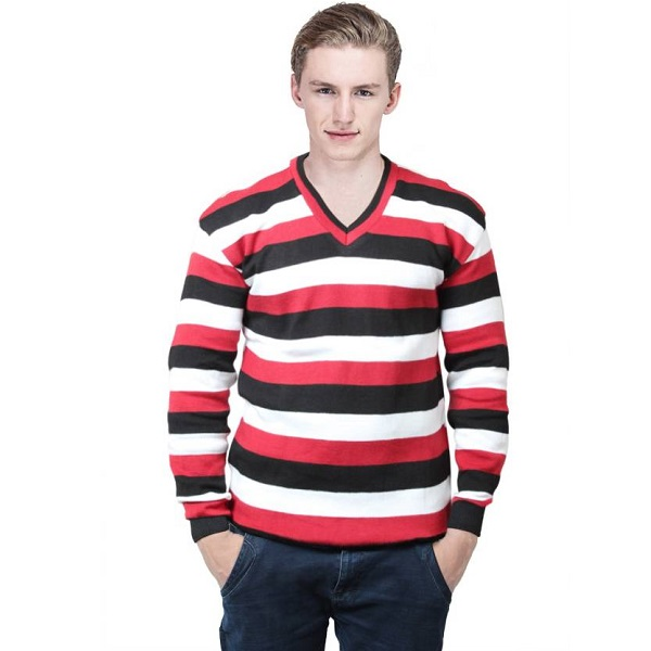 Keep Sake Striped V neck Casual Mens Red Sweater