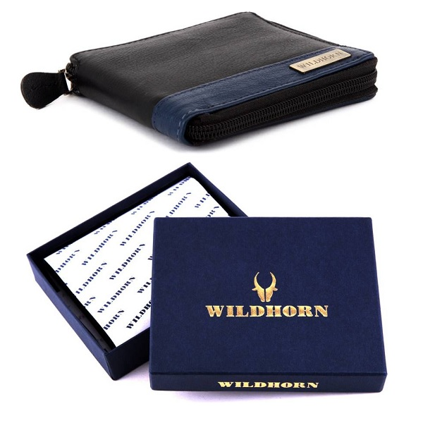 WildHorn Men Formal Black Genuine Leather Wallet