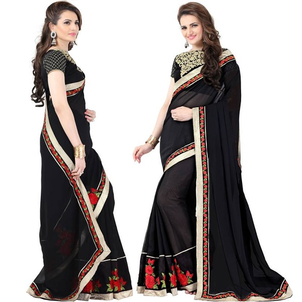 Onlinefayda Self Design Bollywood Georgette Sari