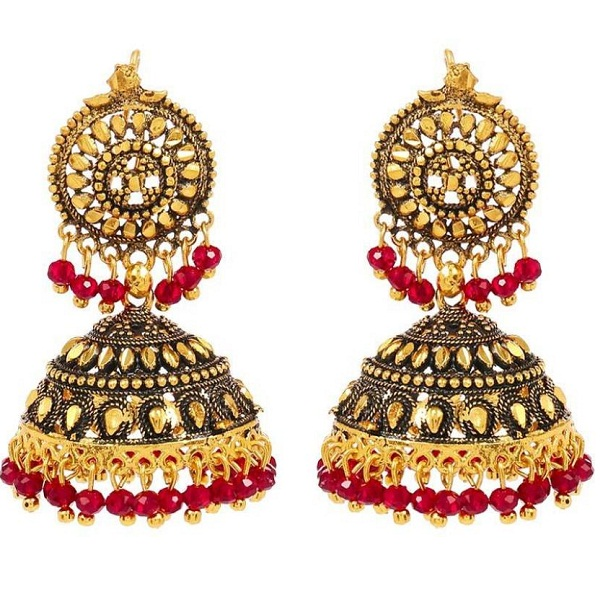 GoldNera Antique Round Alloy Jhumki Earring