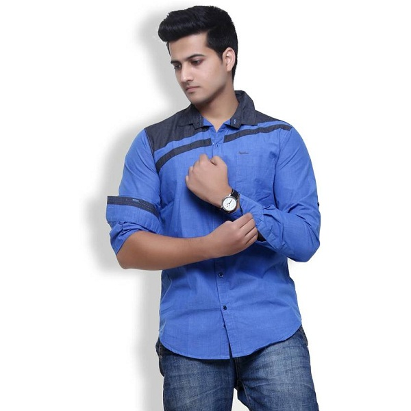 Rapphael Mens Solid Casual Blue Shirt