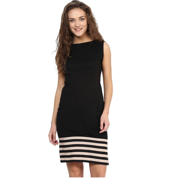 Miss Chase Womens A line Black Dress
