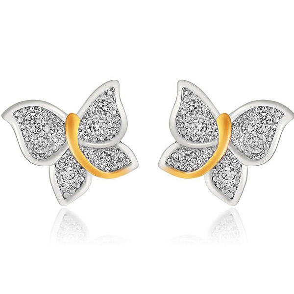 Mahi Flying Butterfly Cubic Zirconia Brass Alloy Stud Earring