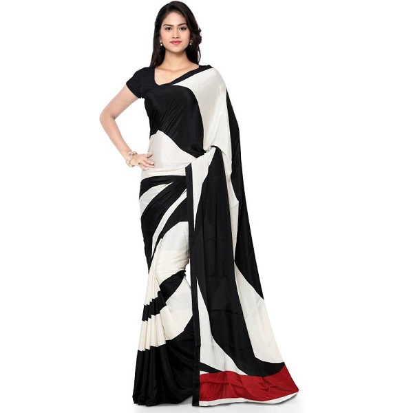 Kvsfab Graphic Print Digital Prints Fashion Pure Crepe Sari