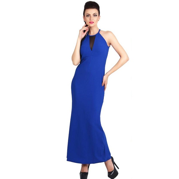 G And M Collections Womens Maxi Blue Dress