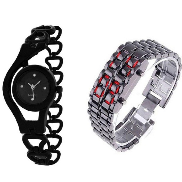 Analog Digital Watch Combo For Couple