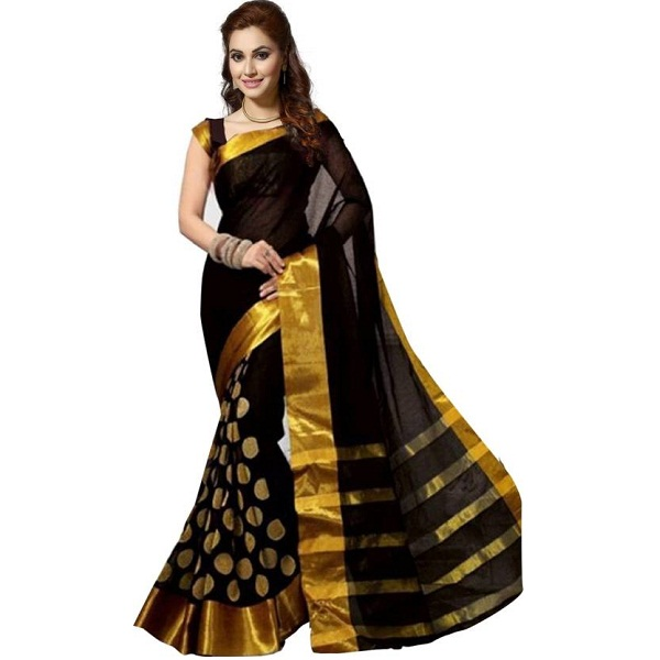Ishin Self Design Bollywood Poly Silk Sari