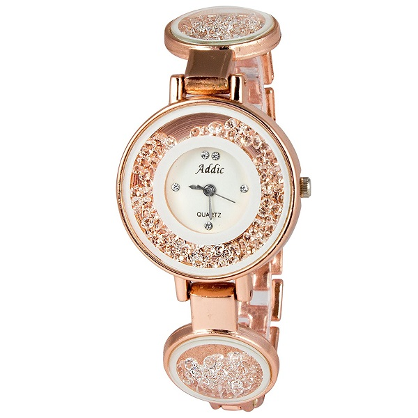 Addic Rolling Diamonds Rosegold Strap Wristwatch