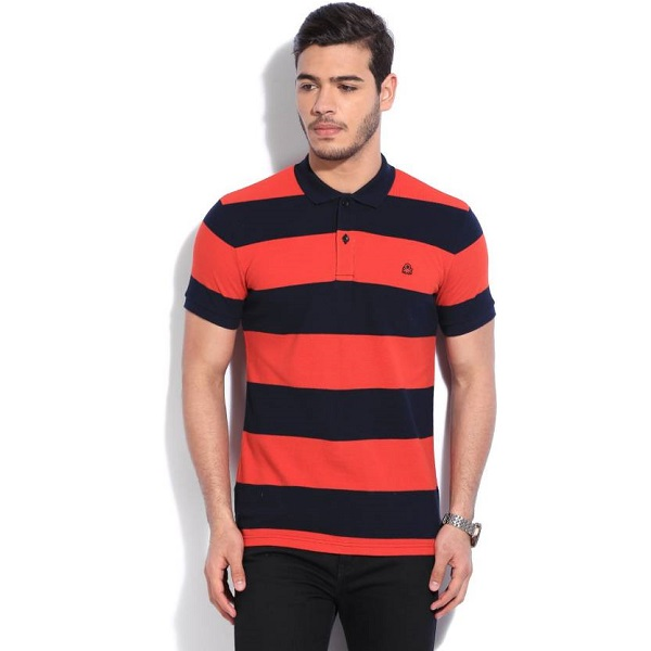 United Colors of Benetton Striped Mens Polo Neck TShirt