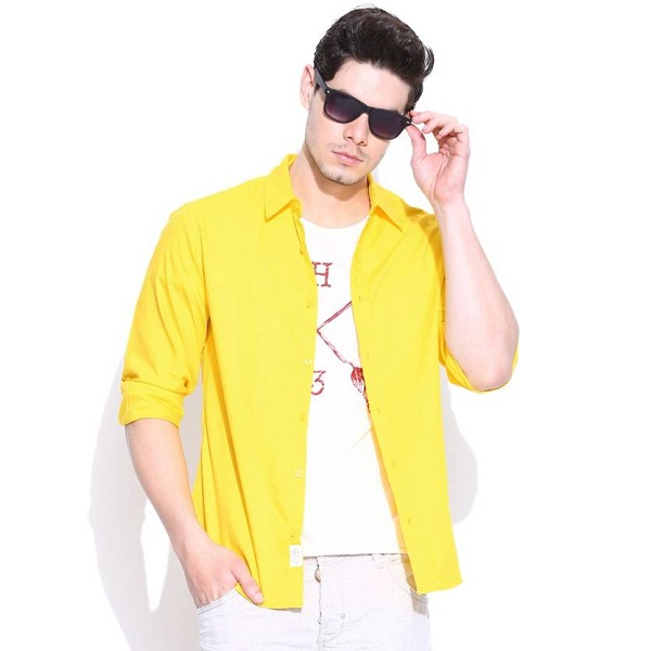 United Colors of Benetton Mens Solid Casual Yellow Shirt