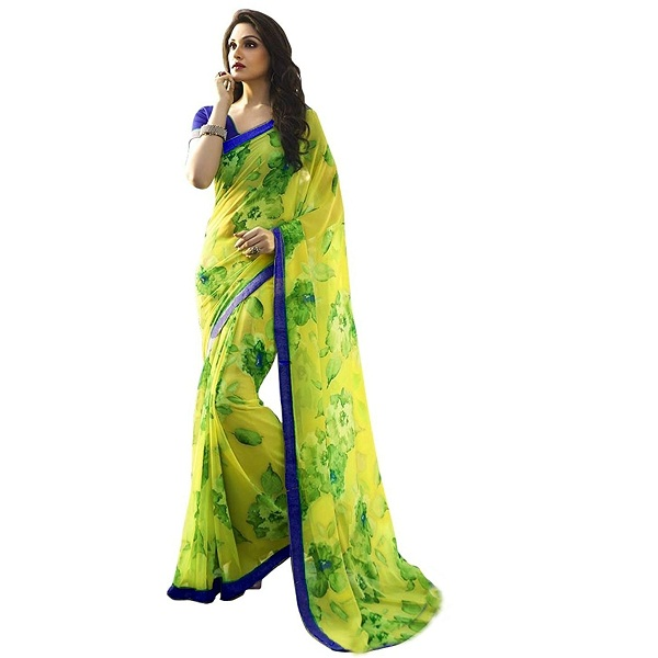 Jaanvi Fashion Womens Lemon Yellow Georgette Printed Saree With Blouse Piece