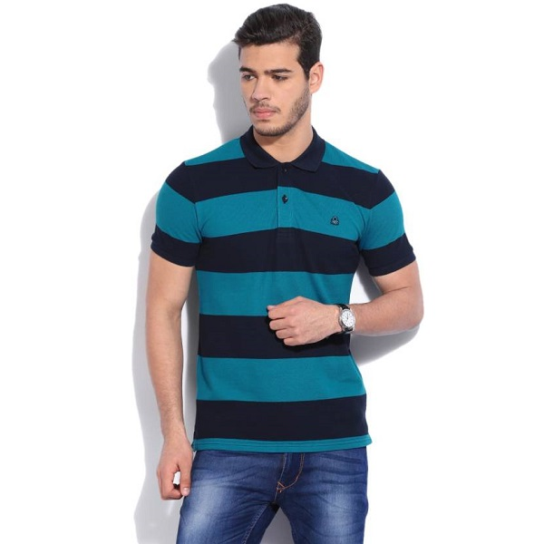 United Colors of Benetton Striped Mens Polo Neck Blue TShirt