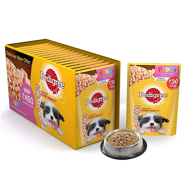 Pedigree Puppy Chicken chunks Flavour in Gravy Pack of 15